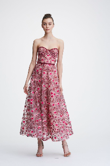 Marchesa Notte Floral Embroidered Strapless Tea Length Gown In Blush