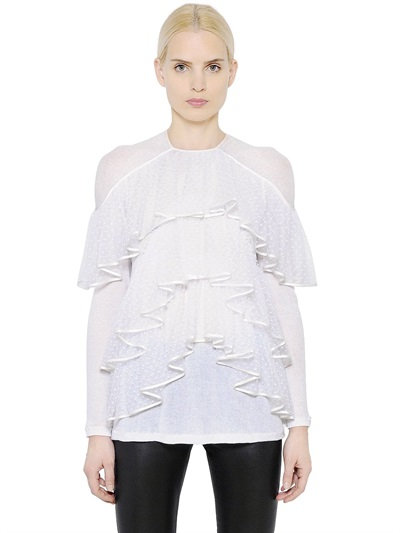 Givenchy Ruffled Light Cotton Crepe Jersey Top In White