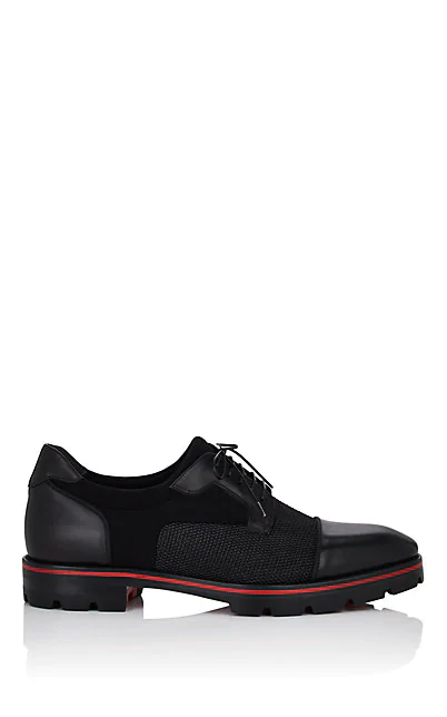 Christian Louboutin Men's Mika Sky Spiked Leather Lace-Up Shoes In Black