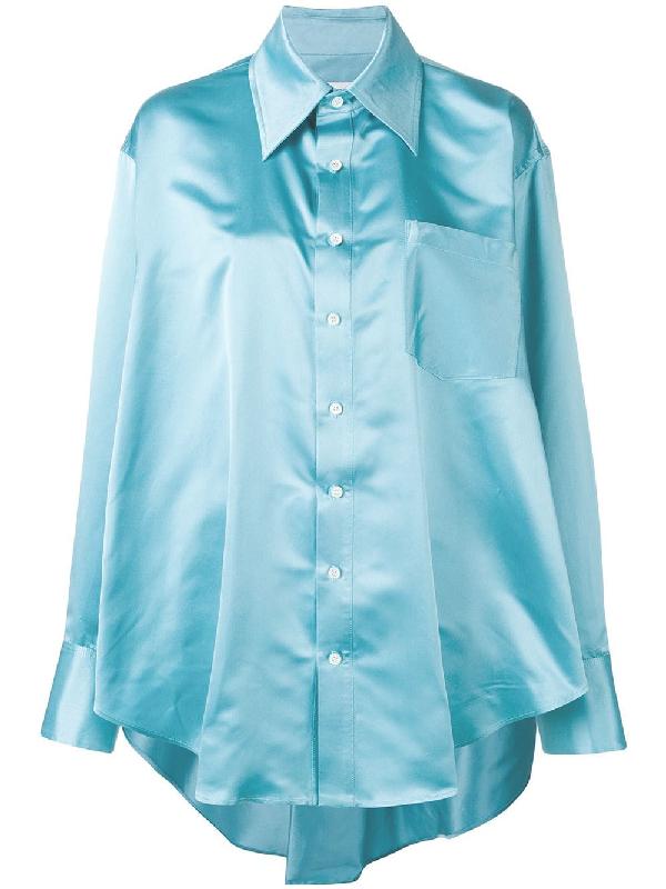 09ac4b45e9344f Matthew Adams Dolan Oversized Drape Shirt - Blue