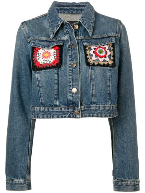 Alanui Embroidered Denim Jacket In Blue