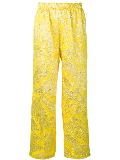 Aspesi Brocade Wide Leg Pant In Yellow