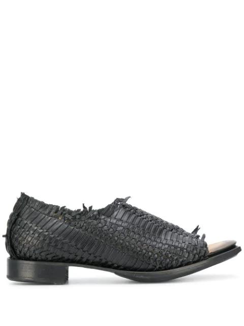 Yohji Yamamoto Open Toe Woven Loafers In Black