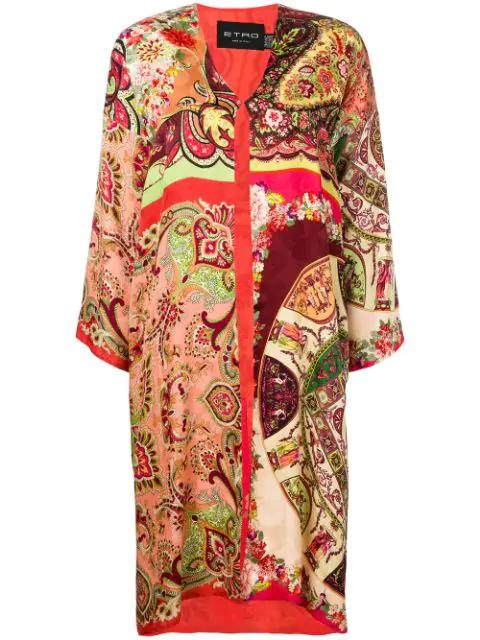 Etro Spolverino Meadows Coat In Red