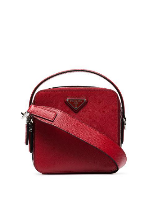 Prada Logo Plaque Messenger Bag In Red