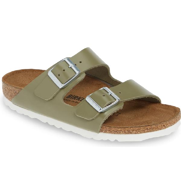 Birkenstock Arizona Slide Sandal In Khaki Leather