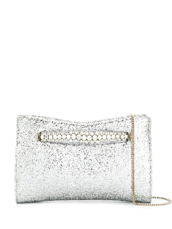 69537beea5 Jimmy Choo Galactica Glitter Clutch With Crystal Bracelet Handle - Metallic  In Silver