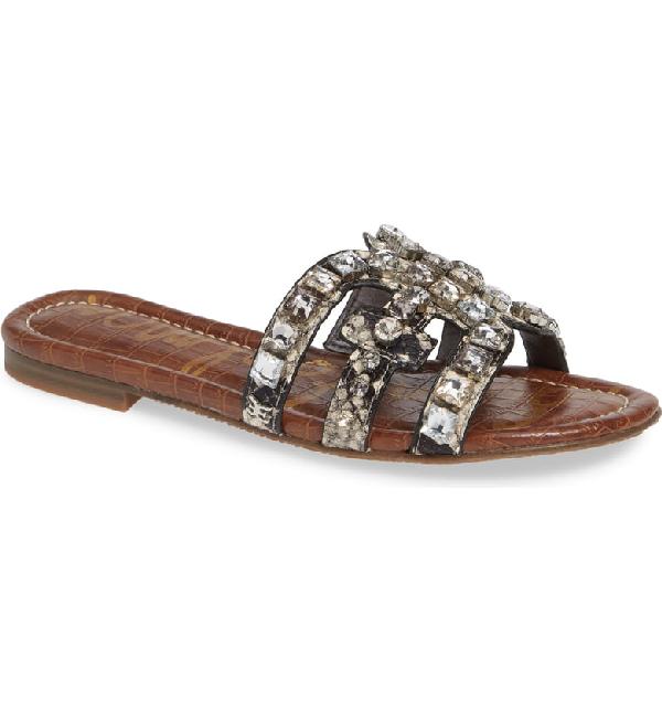7a8bd2b95 Sam Edelman Women s Bay 8 Embellished Slide Sandals In Putty Fabric ...