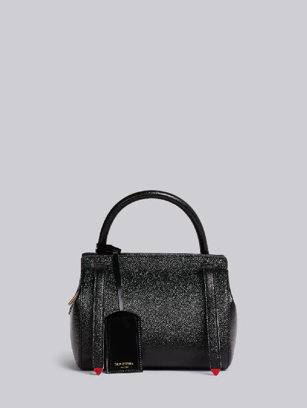 Thom Browne 3-Strap Small Pebble Leather Bag In Black