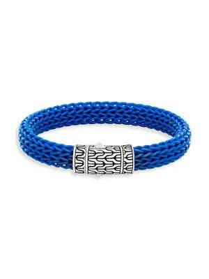 John Hardy Men's Classic Silver & Rubber Bracelet In Blue