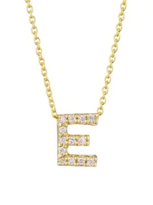 Roberto Coin Tiny Treasures 18K Yellow Gold & Diamond Letter Pendant Necklace