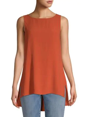 Eileen Fisher Sleeveless Silk Top In Orange