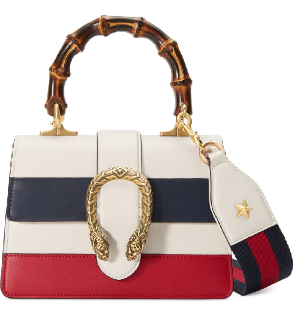 Gucci Mini Dionysus Leather Top Handle Satchel - White In White/ Blue/ Hibiscus Red