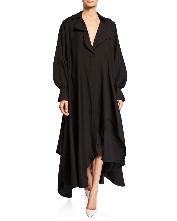 Jacquemus Asymmetric Oversized Shirtdress In Black