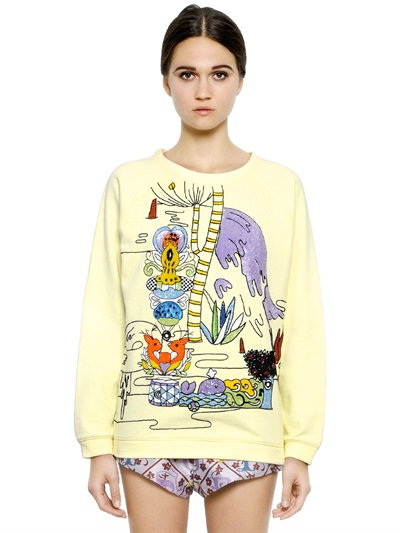 Mary Katrantzou Embroidered Cotton Sweatshirt In Lemon