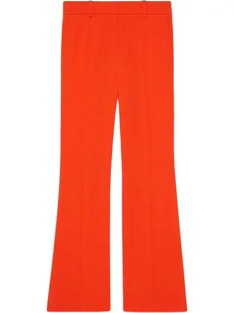 Gucci Cropped Grosgrain-Trimmed Cady Bootcut Pants In Yellow