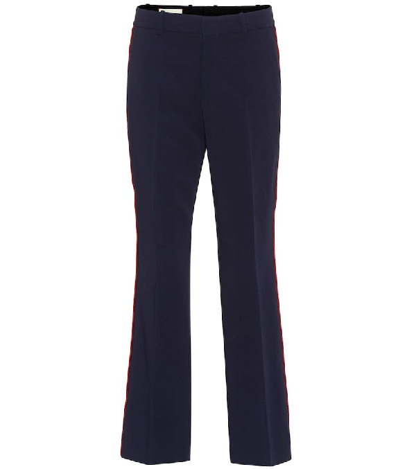 Gucci Bootcut Stretch Cady Pants In Blue