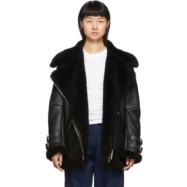 Acne Studios Velocite Shearling-trimmed Leather Biker Jacket In Black/black