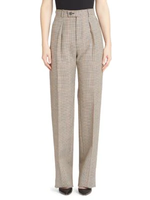 Givenchy Wide-Leg Check Pants In Beige Black