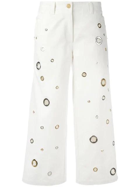 Kenzo Woman Eyelet-embellished Denim Culottes White