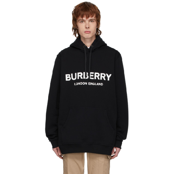 Burberry Lexstone Black Cotton Fleece Logo Hoodie
