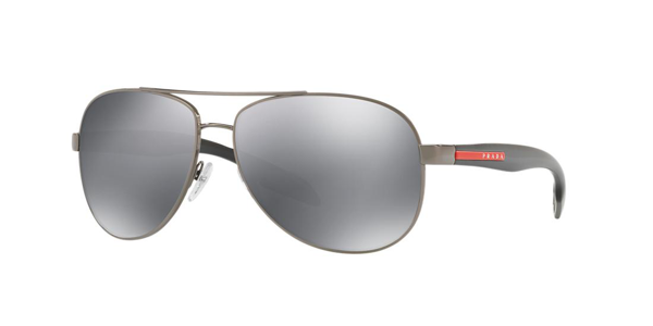Prada Sunglasses, Ps 53ps In Light Grey,black Mirror