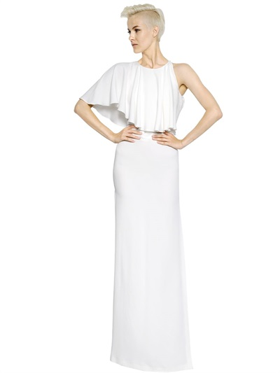 Antonio Berardi One Shoulder Techno Crepe Satin Dress In White