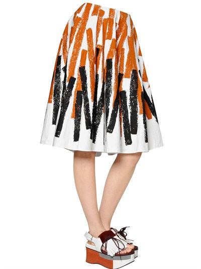 Marni Printed Cotton & Linen Drill Skirt In Brown/Black