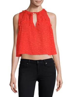 Iro Ragnhild Sleeveless Textured Boxy Top, Red-Orange, White