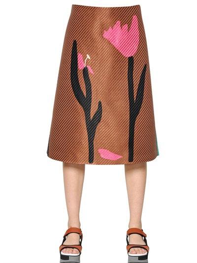Marni Printed Raffia & Cotton Crepe Skirt In Brown/Mint