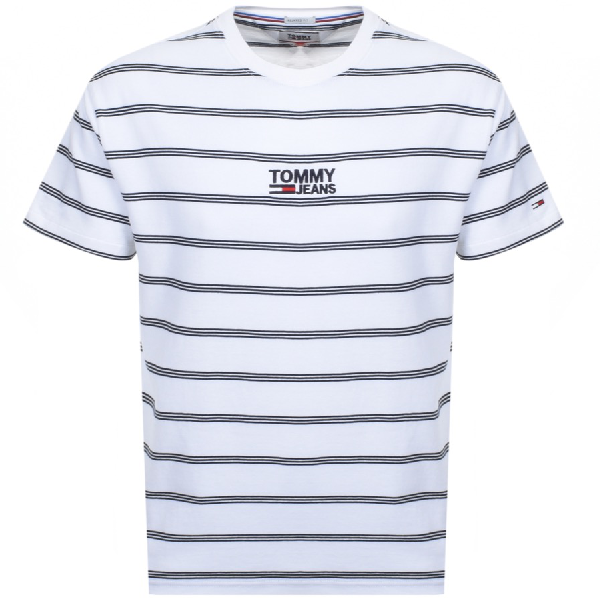 1c7fd8eaf1 Tommy Jeans Crew Neck Stripe T Shirt White | ModeSens