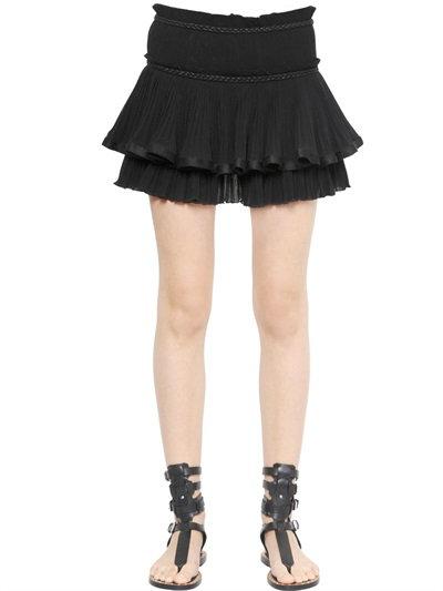Isabel Marant Ruffled Cotton Voile Skirt In Black