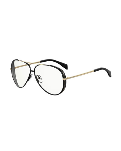 Moschino Studded Metal Aviator Optical Frames In Pink Pattern