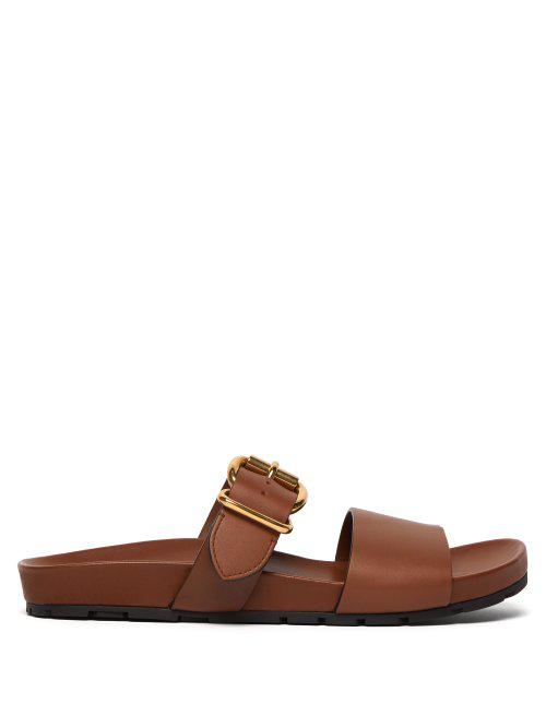 Prada Buckled Leather Slides In Tan Brown
