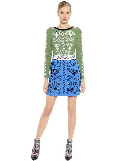 Peter Pilotto Swarovski Embellished Wool Crepe Dress In Green/Blue