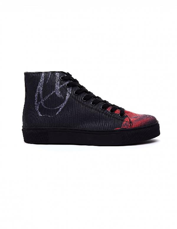 Yohji Yamamoto Printed Cotton Sneakers In Multicolor