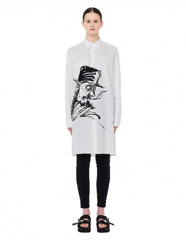 Yohji Yamamoto Elongated Printed Shirt In White
