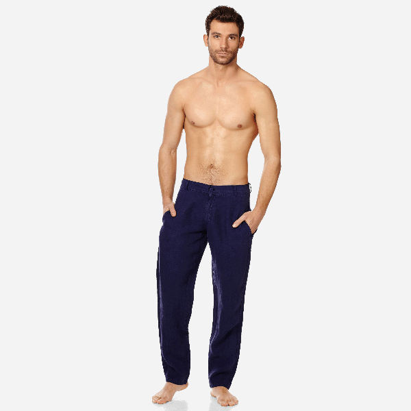 Vilebrequin Men Straight Linen Pants Solid In Blue