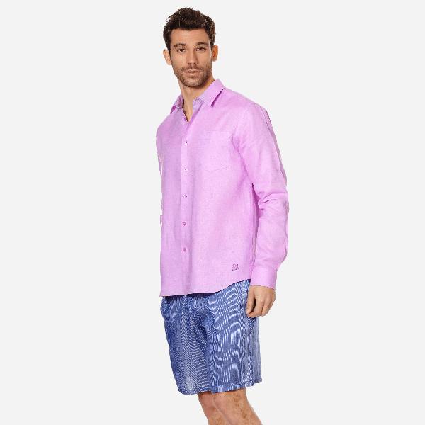 Vilebrequin Men Linen Shirt Solid In Purple