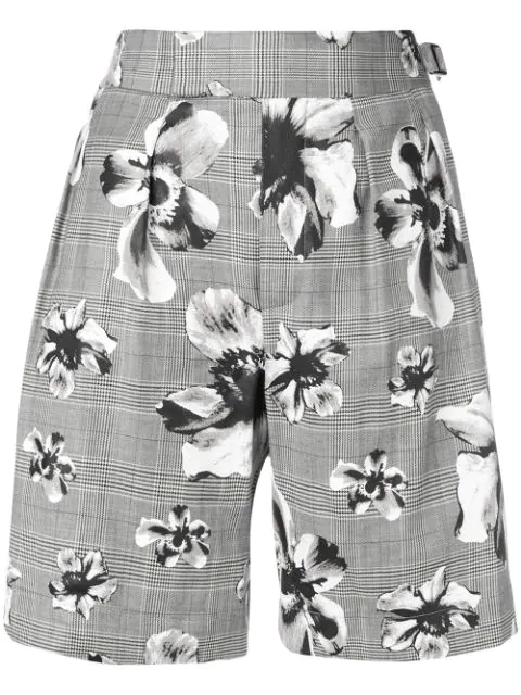 Neil Barrett Prince Of Wales Floral Shorts In Grey