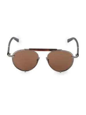 Salvatore Ferragamo Men's Classic Logo Forward 52mm Aviator Sunglasses In Dark Ruthenium