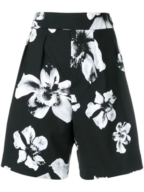 Neil Barrett Tailored Floral Pattern Shorts In Black