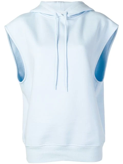 CourrÈGes Sleeveless Hoodie In Blue