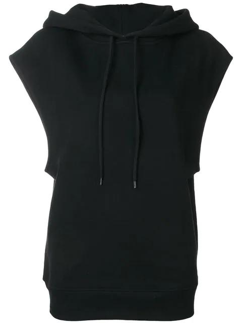 CourrÈGes Sleeveless Hoodie In Black