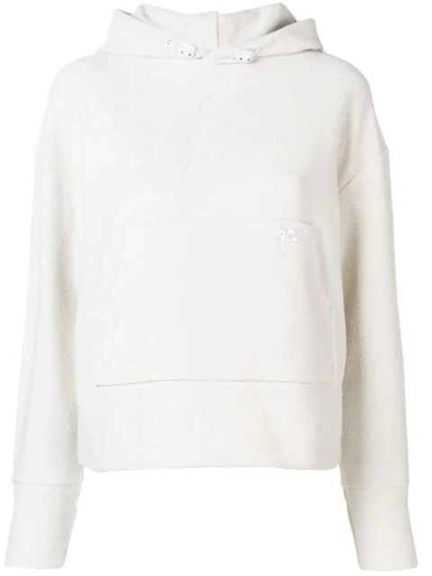 CourrÈGes Embroidered Logo Hoodie In Neutrals
