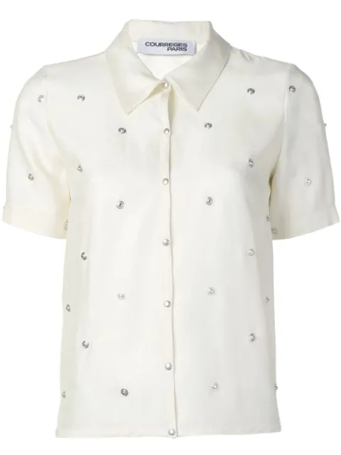 CourrÈGes Studded Button Shirt In White