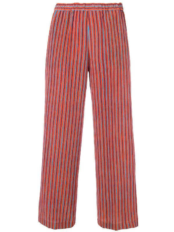 Aspesi Silk Trousers In Orange