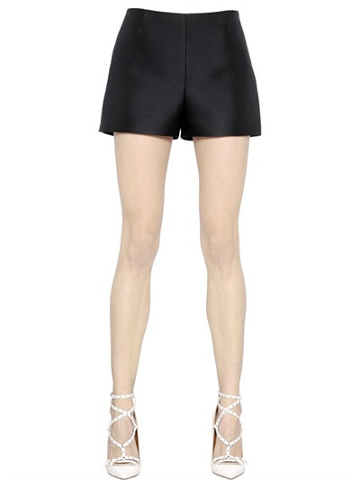 Valentino Wool & Silk Crepe Couture Shorts, Black
