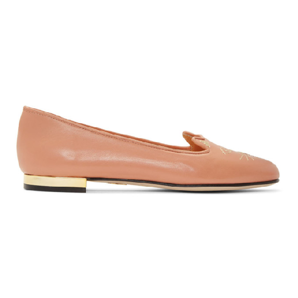 Charlotte Olympia Kitty Flat Leather Loafers In Smp0653 Pin