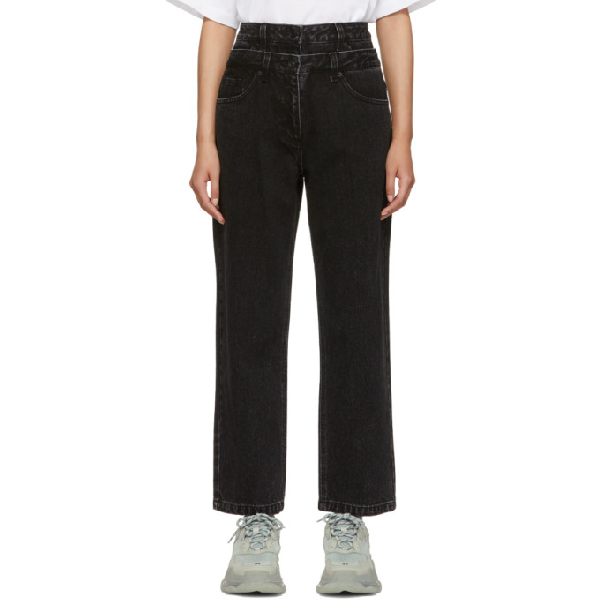 Juun.j Black Double Waist Jeans In Ash
